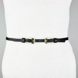 Trina Turk Black Leather Skinny Double Buckle Belt